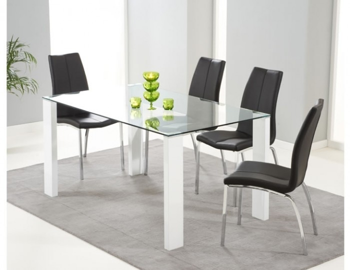Lopez White Gloss & Clear Glass Dining Table & Chairs – Frances Hunt In White Gloss And Glass Dining Tables (View 16 of 25)