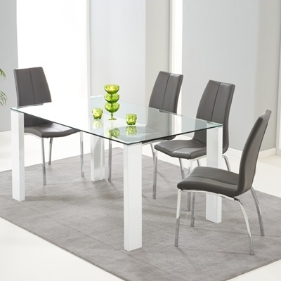 Lorenzo Glass 150Cm Dining Table With 6 Carter Grey Chairs – Robson Throughout Dining Tables Grey Chairs (Image 17 of 25)