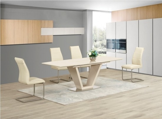 Lorgato Cream High Gloss Extending Dining Table Dtx 2135Cr | Morale Inside High Gloss Cream Dining Tables (View 2 of 25)