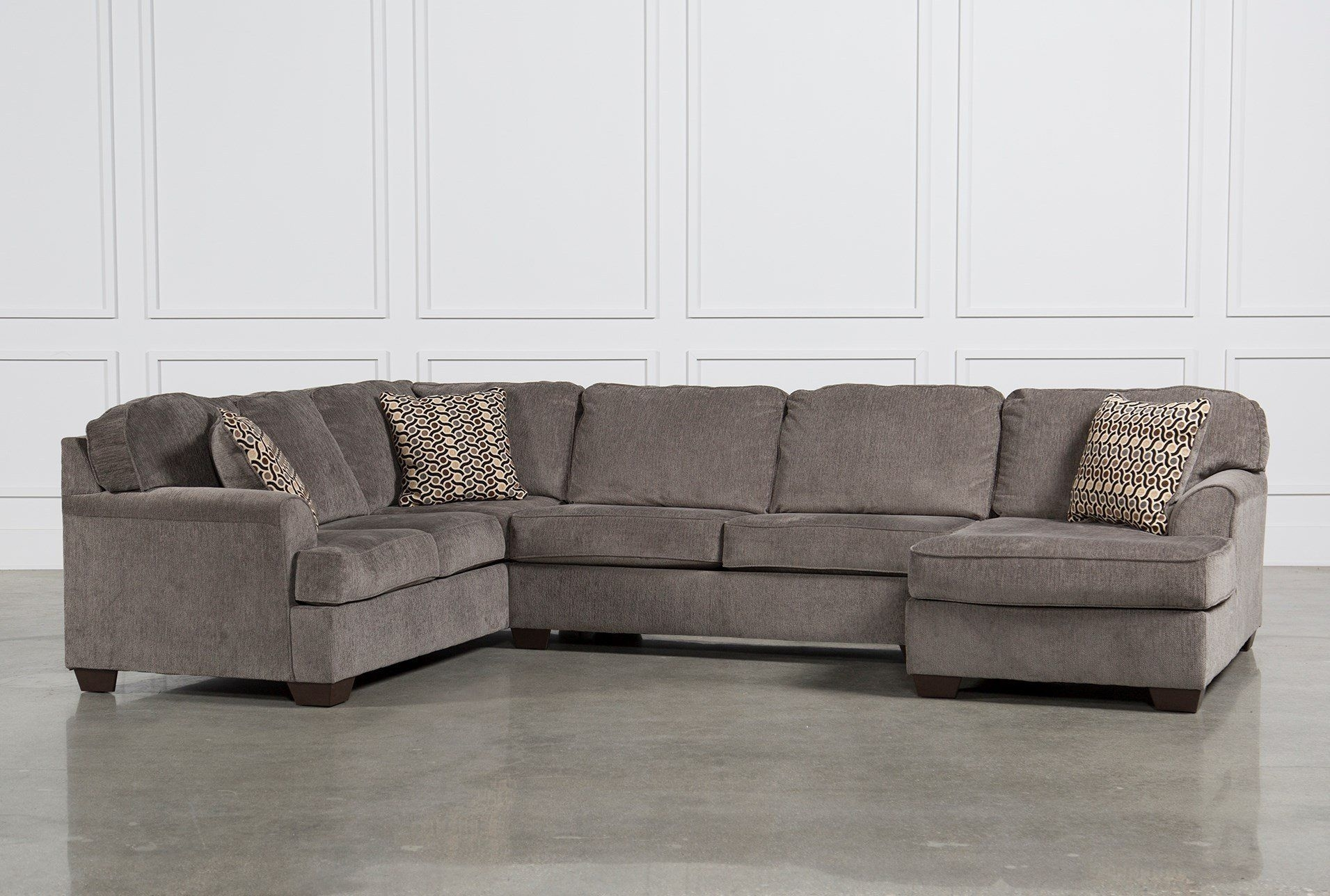 Loric Smoke 3 Piece Sectional W/raf Chaise   Upholstery, Pillows And Pertaining To Malbry Point 3 Piece Sectionals With Raf Chaise (View 2 of 25)