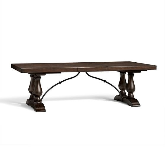 Lorraine Extending Dining Table; 96 – 120 Inches | Pottery Barn With Regard To Magnolia Home Bench Keeping 96 Inch Dining Tables (Image 9 of 25)