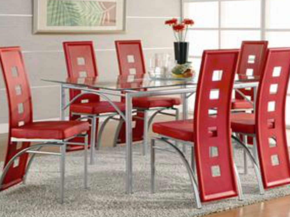 Los Feliz Red Modern Glass Dining Table Set 5-Pc 101682-5 regarding Curved Glass Dining Tables