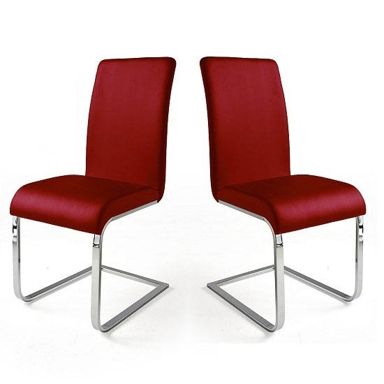 Lotte I Red Faux Leather Dining Chair In A Pair 22697 Inside Red Leather Dining Chairs (View 8 of 25)