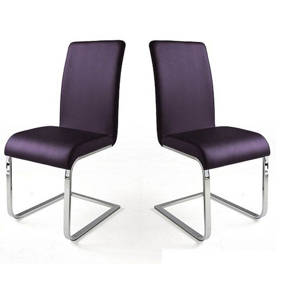 Lotte I Violet Faux Leather Dining Chair In A Pair 22694 In Purple Faux Leather Dining Chairs (View 11 of 25)