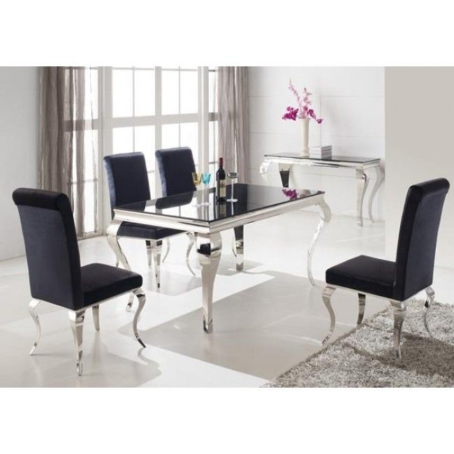 Louis 160Cm Black And Chrome Dining Table Only | Rooms In The House Pertaining To Caira 9 Piece Extension Dining Sets With Diamond Back Chairs (Image 13 of 25)