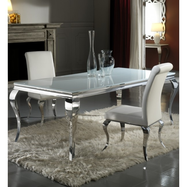 Louis 160Cm White And Chrome Dining Table Only Regarding Chrome Dining Tables (View 8 of 25)