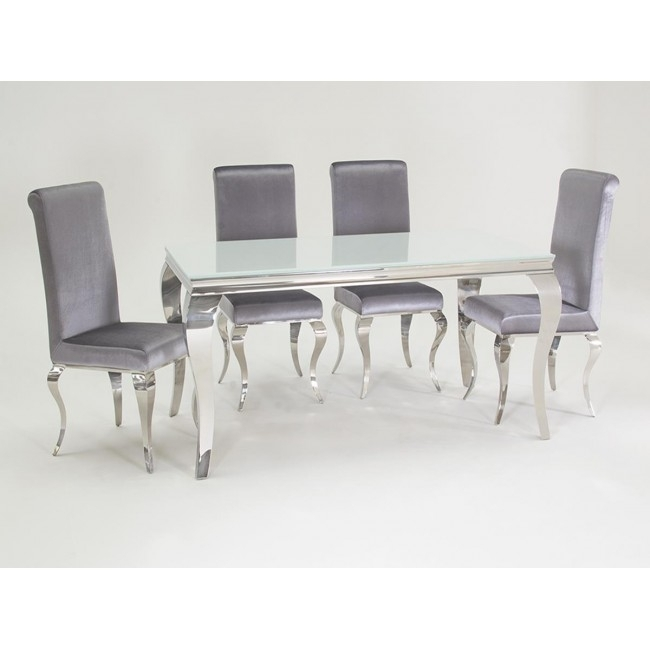 Louis 160Cm White And Chrome Dining Table With 6 Sliver Chairs Within Chrome Dining Tables (Image 16 of 25)