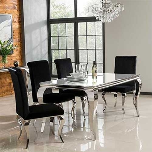 Louis 160Cm White Dining Table Set With 4 Silver Velvet Louis Chairs In White Dining Tables (View 7 of 25)