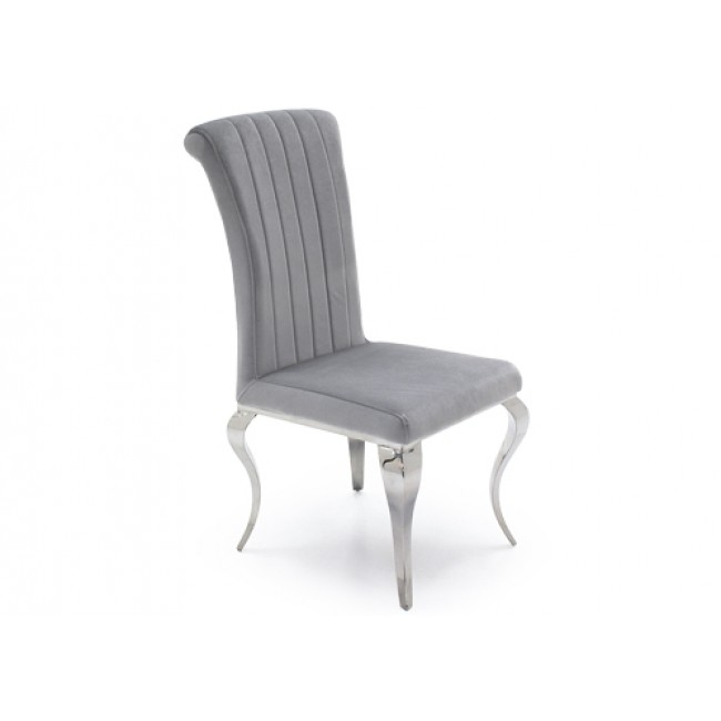 Louis Nicole Silver Velvet And Chrome Dining Chairs ( Pair ) Intended For Chrome Dining Chairs (Image 14 of 25)