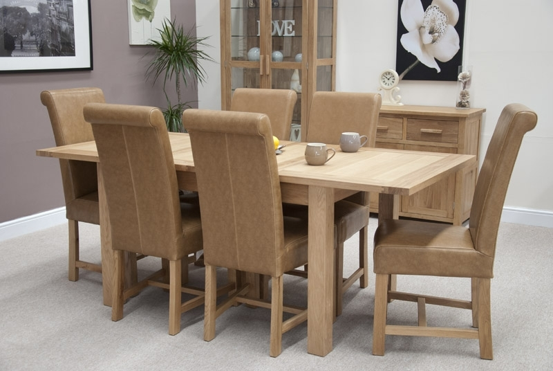 Louis Oak Chunky Tan Leather Dining Chair With Regard To Oak Leather Dining Chairs (Image 16 of 25)