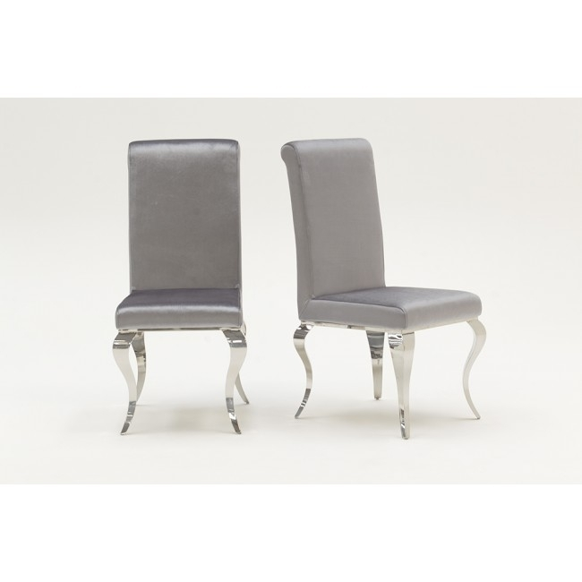 Louis Silver Velvet And Chrome Dining Chairs ( Pair ) Pertaining To Chrome Dining Chairs (View 12 of 25)