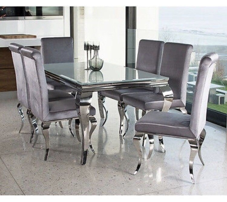 Louis White Glass Dining Table With Six Silver Velvet Chairs | In Inside White Glass Dining Tables And Chairs (View 6 of 25)