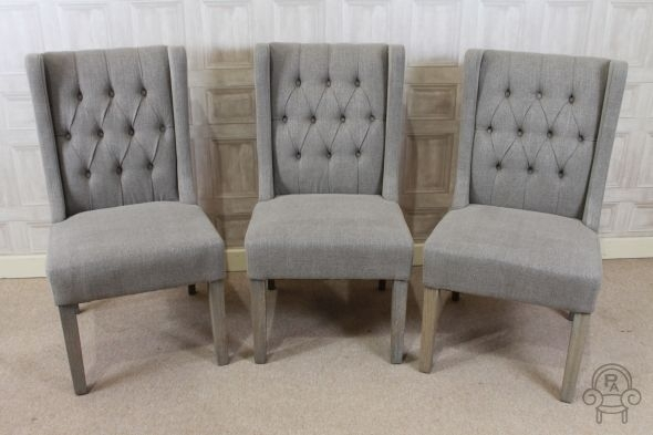 Lovely Button Back French Style Upholstered Dining Chair In Stone With Regard To Button Back Dining Chairs (Image 19 of 25)