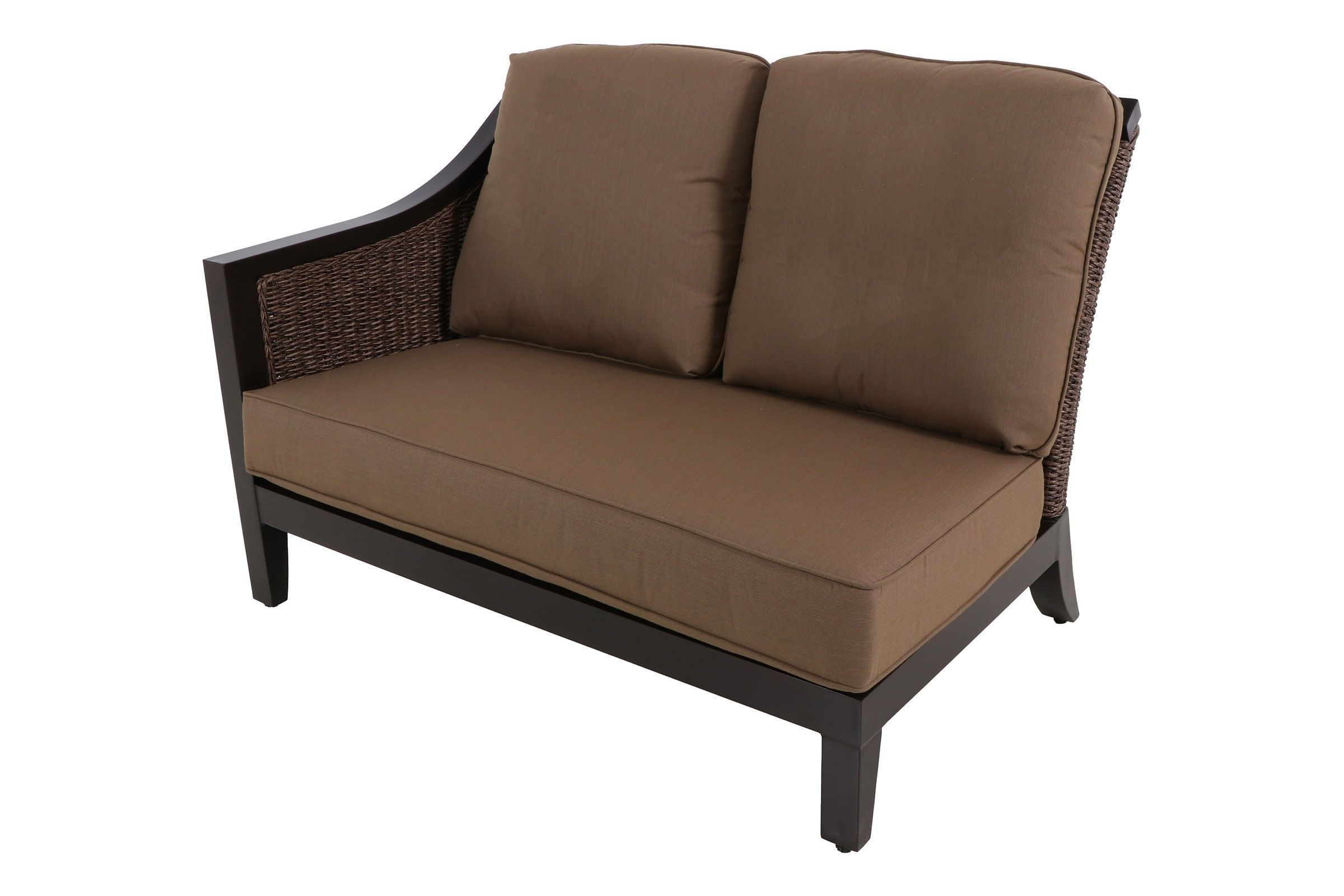 Loveseat Sectional | Whitecraftwoodard Mona Wicker Right Arm Regarding Taron 3 Piece Power Reclining Sectionals With Left Facing Console Loveseat (Image 15 of 25)