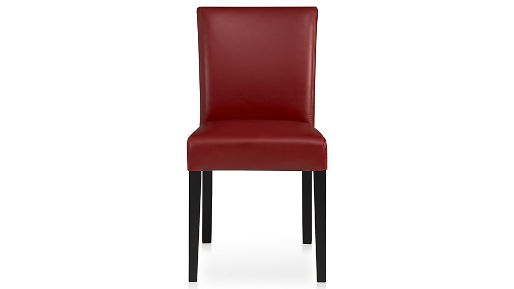 Lowe Red Leather Dining Chair + Reviews | Crate And Barrel Throughout Red Leather Dining Chairs (Image 10 of 25)