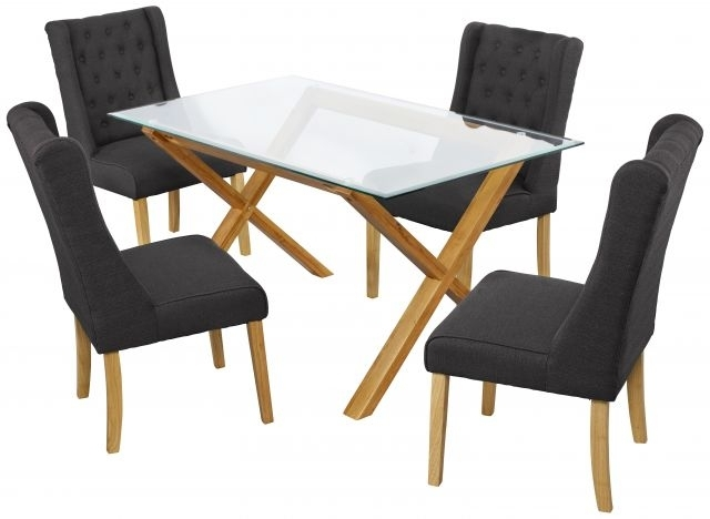 Lpd Furniture Cadiz Solid Oak & Glass Dining Table – Dining Tables For Oak And Glass Dining Tables And Chairs (Image 12 of 25)