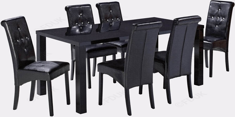 Lpd Monroe | Monroe Black High Gloss Dining Table With 6 Chair With Regard To Black High Gloss Dining Chairs (Image 18 of 25)