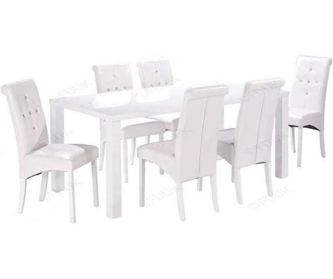 Lpd Monroe | Monroe White High Gloss Dining Table With 6 Chair Regarding White High Gloss Dining Tables 6 Chairs (Image 15 of 25)
