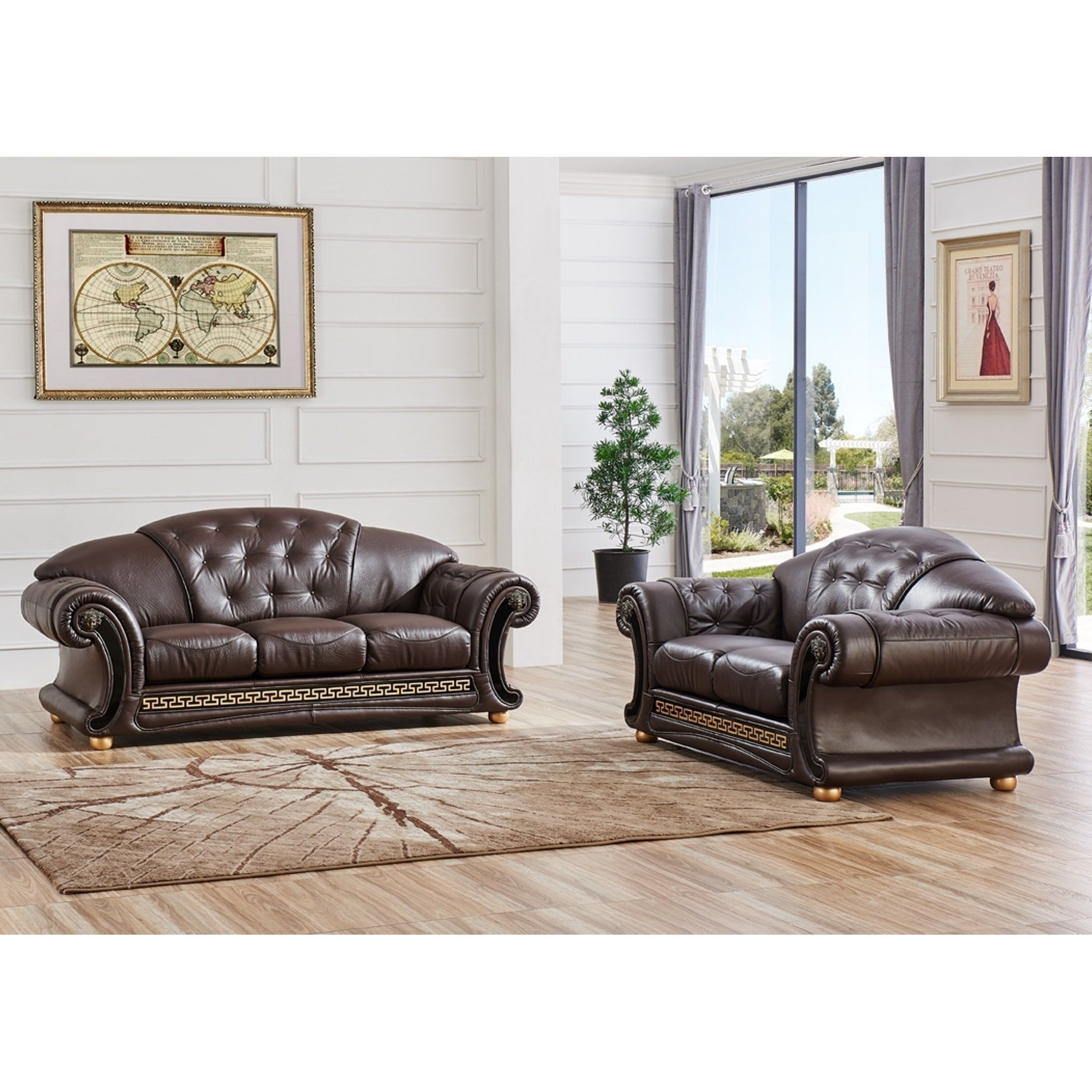 Luca Home 2 Piece Split Brown Leather Living Room Set (Brown Half For Clyde Saddle 3 Piece Power Reclining Sectionals With Power Headrest & Usb (Image 21 of 25)