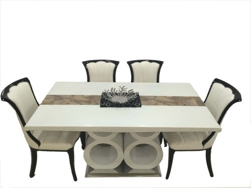 Lucky 88 1+6 Marble Dining Table Sets – Woodys Furnitures, Mumbai Pertaining To Marble Dining Tables Sets (Image 13 of 25)