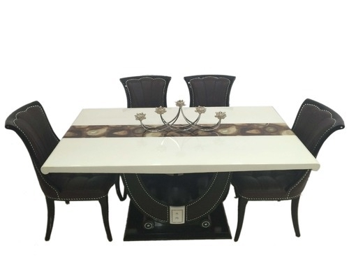 Lucky U 1+6 Marble Dining Table Set – Woodys Furnitures, Mumbai | Id With Regard To Marble Dining Tables Sets (View 17 of 25)