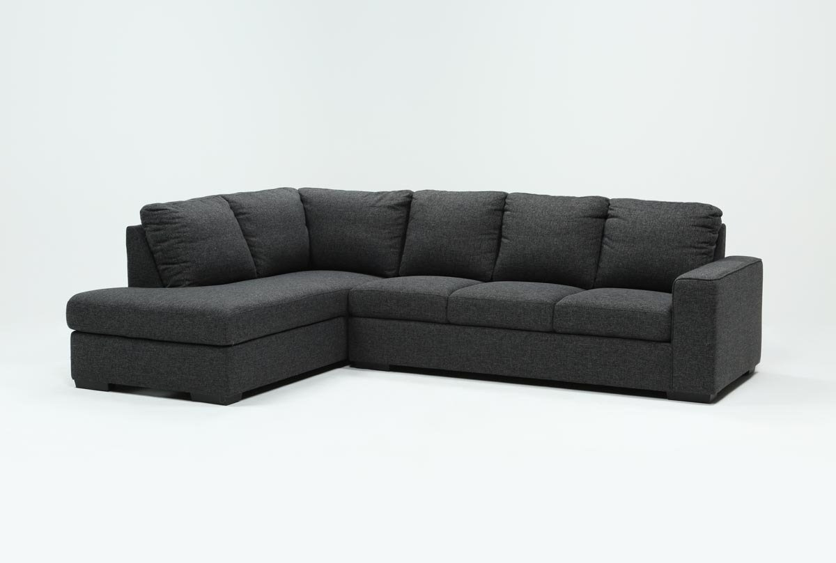 Lucy Dark Grey 2 Piece Sleeper Sectional W/laf Chaise | Living Spaces Within Aquarius Dark Grey 2 Piece Sectionals With Raf Chaise (Image 10 of 25)
