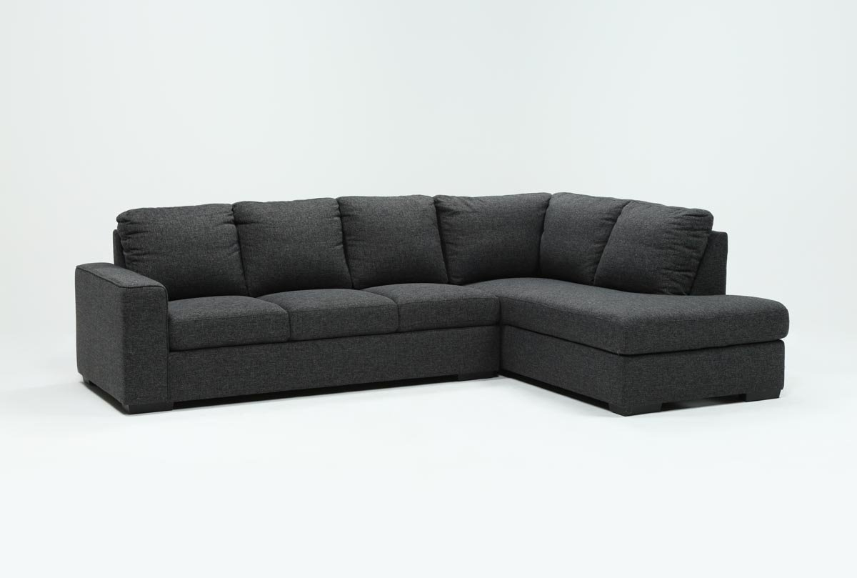 Lucy Dark Grey 2 Piece Sleeper Sectional W/raf Chaise | Living Spaces Intended For Kerri 2 Piece Sectionals With Raf Chaise (Image 23 of 25)