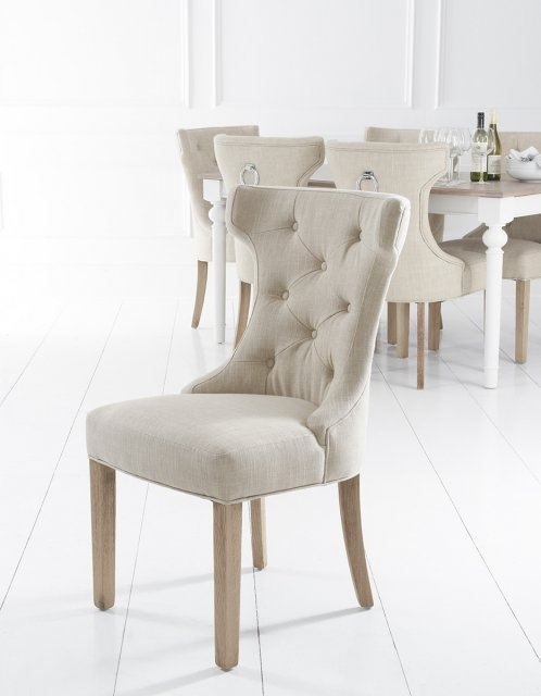 Lulworth Winged Button Back Dining Chair – Fabric & Leather Dining Throughout Button Back Dining Chairs (Image 20 of 25)