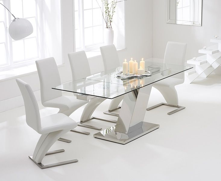 Luna 140Cm Extending Glass Dining Table With Hampstead Z Chairs Inside Oak And Glass Dining Tables Sets (Image 14 of 25)