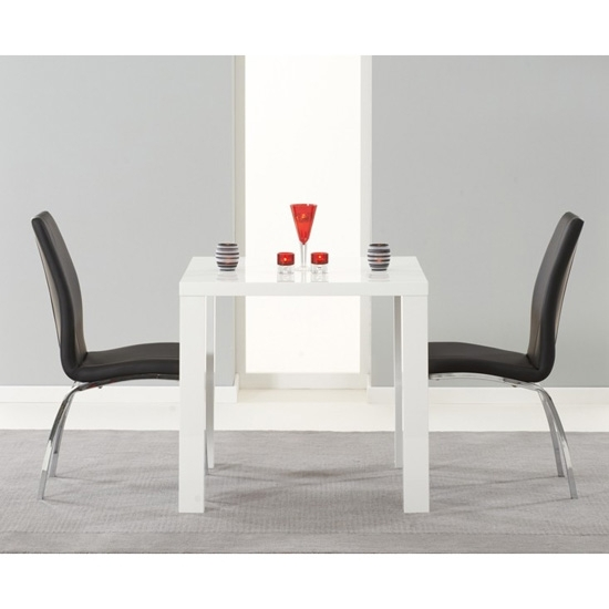 Luna Square Gloss Dining Table White | 2 – 4 Seat | Fads For White Gloss Dining Room Furniture (Image 17 of 25)