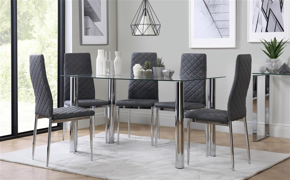 Lunar Chrome And Glass Dining Table With 4 Renzo Grey Chairs Only Within Grey Glass Dining Tables (Image 16 of 25)