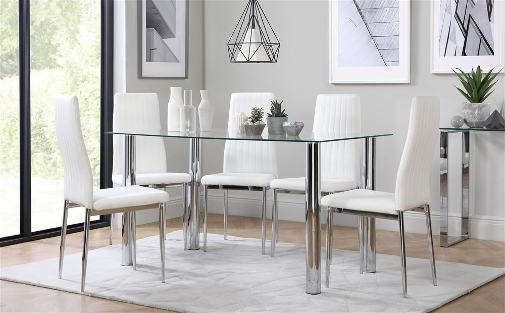 Lunar Chrome And Glass Dining Table With 6 Leon White Chairs Only In Leon Dining Tables (Image 17 of 25)