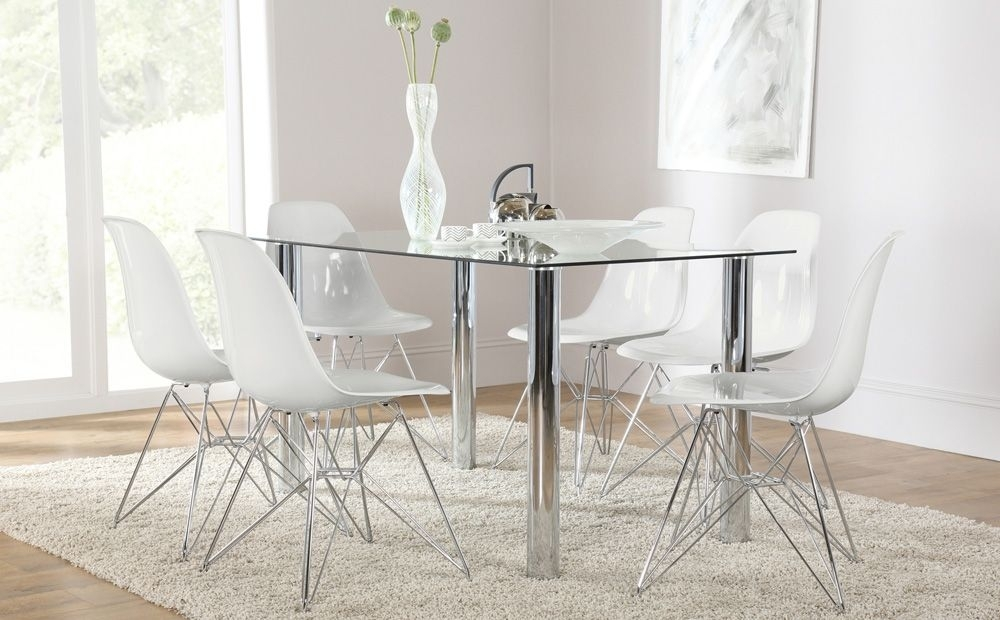 Lunar Glass & Chrome Dining Table And 6 Chairs Set (Helix White Inside Chrome Dining Room Chairs (View 23 of 25)