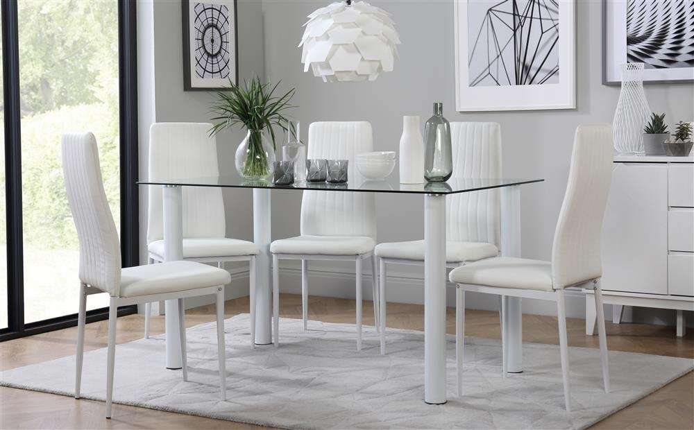 Lunar Glass Dining Table With 6 Leon White Chairs Only £ (Image 19 of 25)