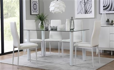 Lunar Glass Dining Table With 6 Leon White Chairs Only £ (View 10 of 25)