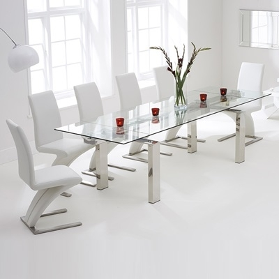 Lunar Glass Extending Dining Table With 8 Harvey White Chairs Throughout Extending Dining Tables And 8 Chairs (Image 16 of 25)