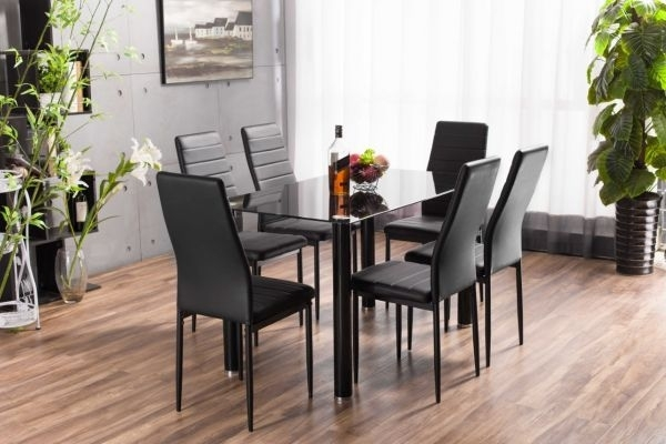 Lunar Rectangle Glass Dining Table & 6 Chairs Set | Furniturebox Throughout Dining Tables Black Glass (Image 20 of 25)
