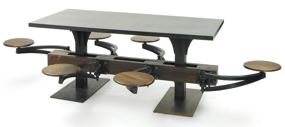 Lunchroom Dining Table – Phag Regarding Dining Tables With Attached Stools (View 5 of 25)