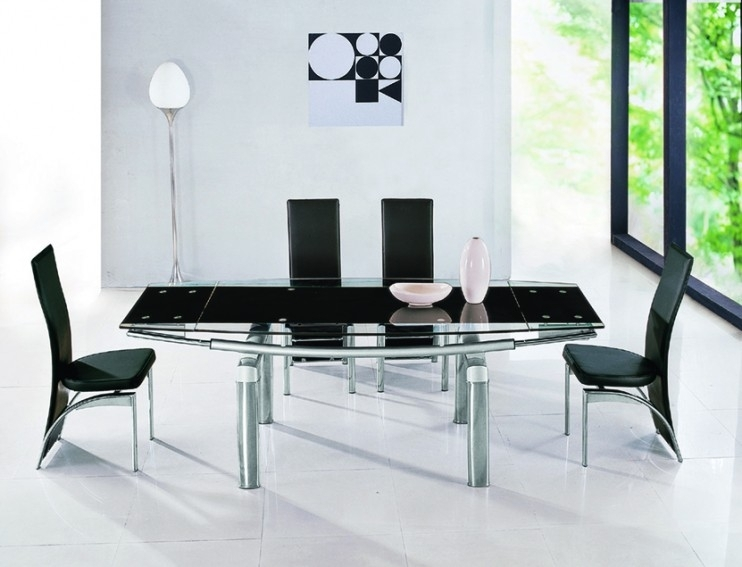 Luxor Black Glass Extendable Dining Table | Glass Vault Furniture With Black Extendable Dining Tables Sets (Image 17 of 25)