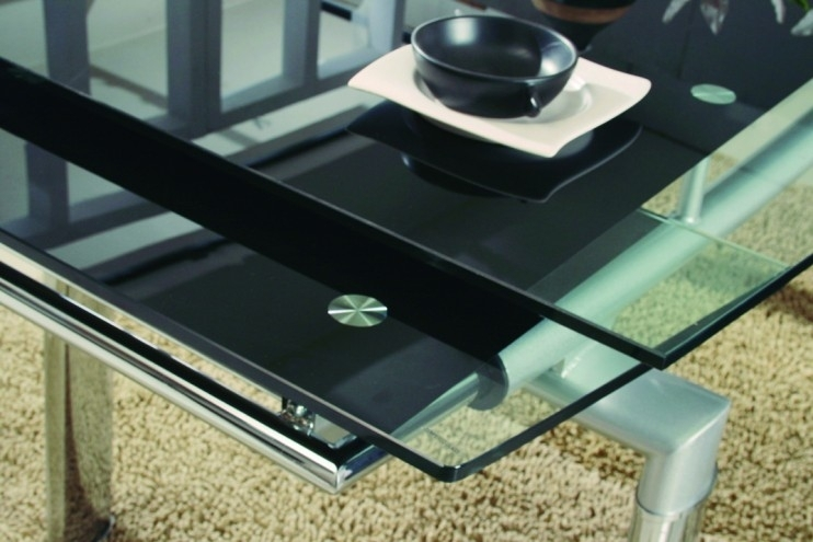 Luxor Black Glass Extendable Dining Table | Modenza Furniture Pertaining To Extending Glass Dining Tables (Image 18 of 25)