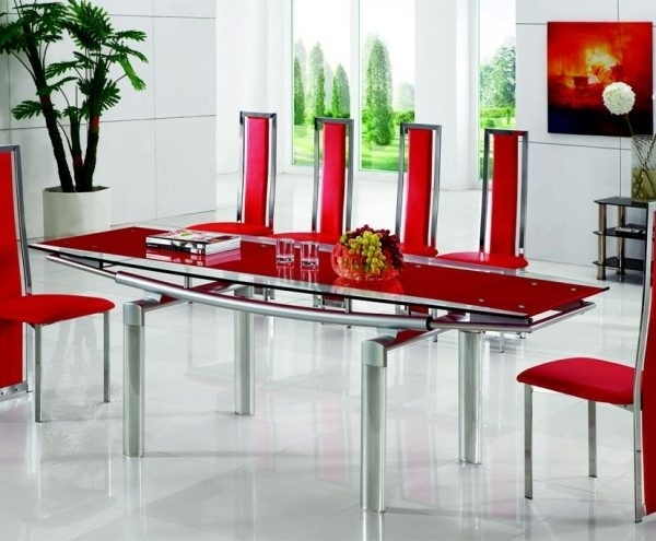 Luxor Extending Glass Dining Table With Armalia Dining Chairs intended for Glasses Dining Tables