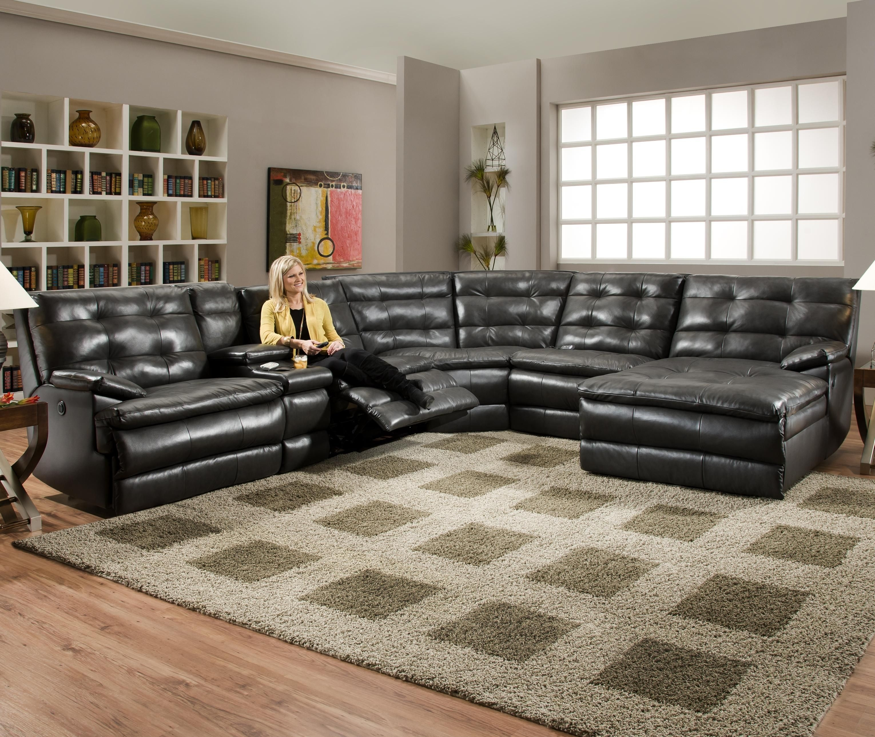 Luxurious Tufted Leather Sectional Sofa In Classy Black Color With For Marcus Chocolate 6 Piece Sectionals With Power Headrest And Usb (Image 10 of 25)