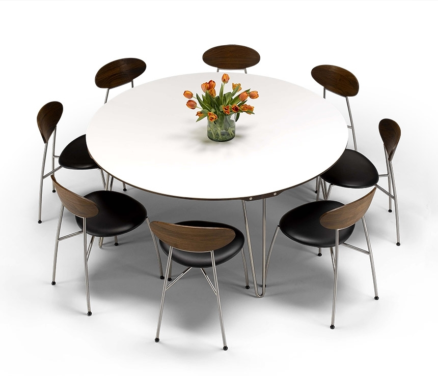 Luxury Danish Modern Round Dining Table – Dm6690 – Wharfside Within Round White Extendable Dining Tables (View 23 of 25)
