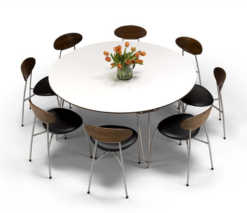 Luxury Danish Modern Round Dining Table – Dm6690 – Wharfside Within Round White Extendable Dining Tables (Image 14 of 25)