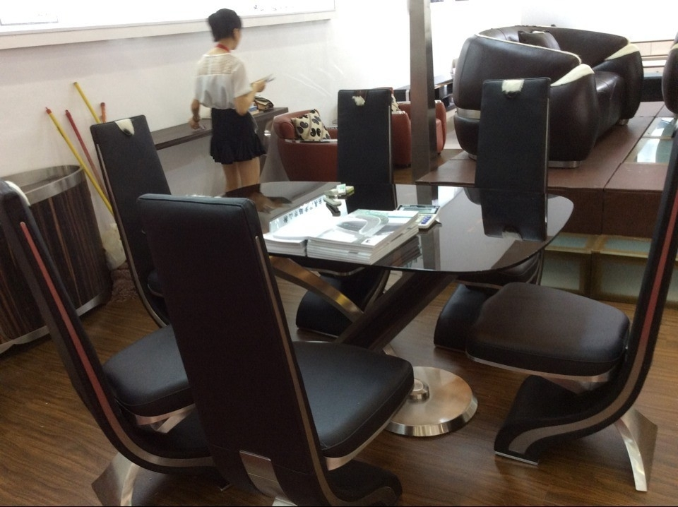 Luxury Design Long Back Genuine Leather Dining Chair – Buy Genuine Regarding Real Leather Dining Chairs (Image 5 of 25)
