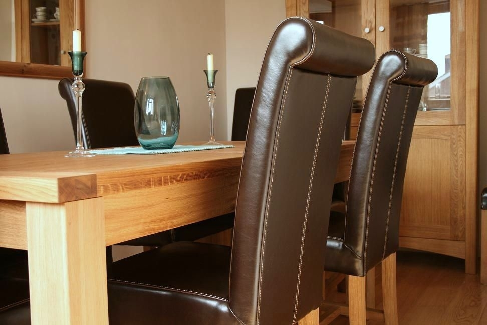 Luxury Dining Table Set – Full Leather Titan Chairs In Oak Dining Tables And Leather Chairs (Image 8 of 25)