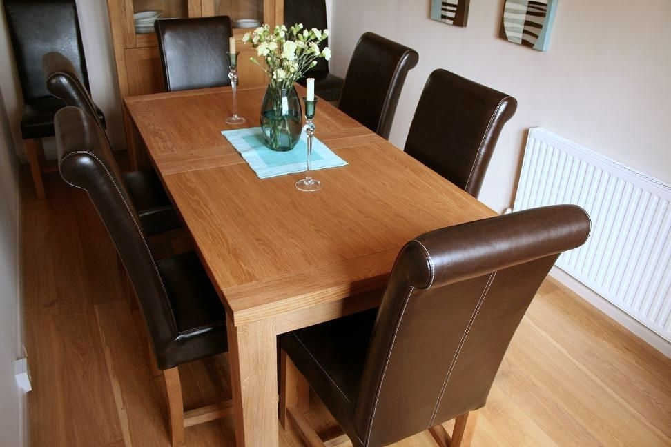 Luxury Dining Table Set – Full Leather Titan Chairs With Dark Brown Leather Dining Chairs (Image 17 of 25)