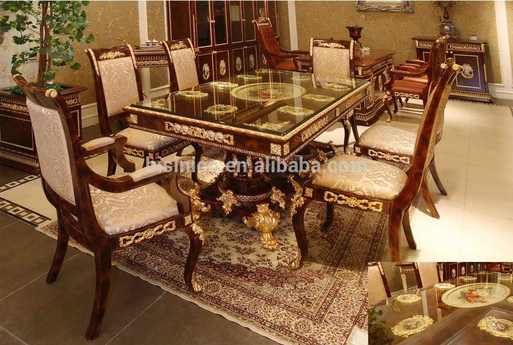 Luxury French Baroque Style Dining Room Sets/ Antique Brown With Royal Dining Tables (View 11 of 25)
