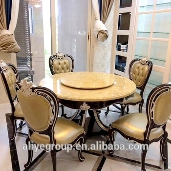 Luxury Solid Wooden Round Dining Table With Rotating Centre Marble Within Solid Marble Dining Tables (View 22 of 25)