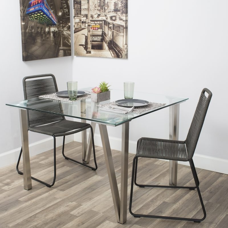 Lyca Brushed Stainless Steel Tempered Glass Square Dining Table | Mix Inside Brushed Metal Dining Tables (Image 12 of 25)